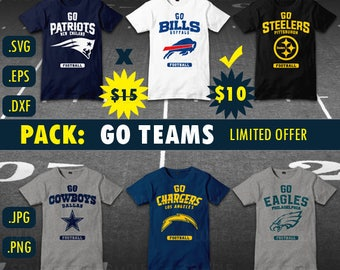 Bundle Go  Patriots, Go Eagles, Go Chargers, Go Cowboys, Steelers, Bills SVG file, Nfl, DxF, EPS, PNG, jpg Vector, clipart, scal, football