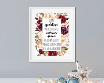 """Parks and Rec Pawnee Goddesses Creed 8x10 Print - """"I am a goddess, a glorious female warrior, queen of all that I survey"""", Parks and Rec Art"""