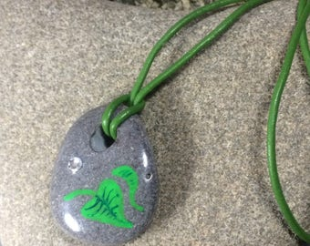 Hand painted leaf - sea stone  pendant with leather thong (or chain)  and Swarovski crystal
