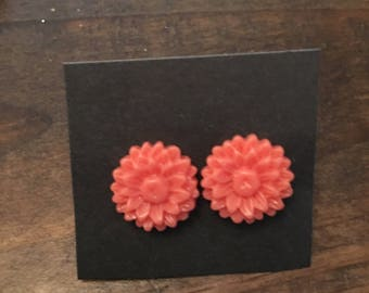 Coral floral earrings
