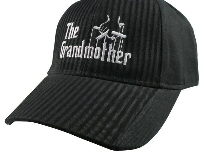 The Grandmother Godfather Style White Embroidery Adjustable Fashion Stylish Structured Black Textured Stripes Black on Black Baseball Cap