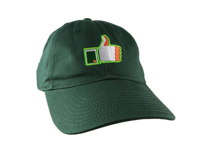 St-Patrick's Irish Flag Facebook Like Embroidery on an Adjustable Forest Green Unstructured Baseball Cap with Option to Personalize the Back