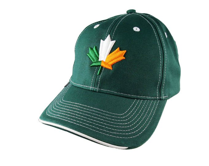 St-Patrick's Irish Flag Maple Leaf 3D Puff Embroidery on an Adjustable Green Structured Baseball Cap with Option to Personalize the Back
