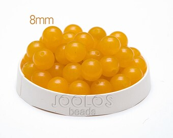 Yellow jade Beads 8mm Yellow stone beads Round jade beads Yellow nephrite beads Mala beads Jewelry making beads / 10 beads About 7-8 cm
