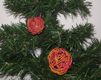 """2 pieces-Christmas ball """"ball with wire"""" handmade"""