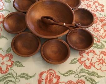 Wooden Salad Bowl Set,  10 pc Set, Solid Wood Bowls,  Wooden Serving Tongs,