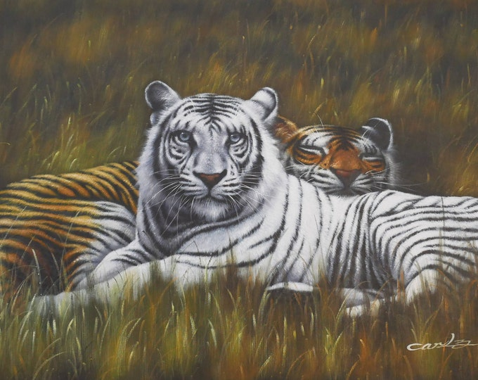 Tiger Painting White Tiger Oil on Canvas Bengal Tiger Wall Art Beautiful Decor