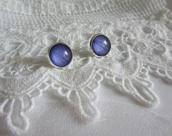 Stud earrings with fragments of blue petals - Earrings with silver coating