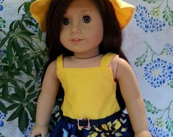 "Yellow Tank Dress with Multi Colored Blue Skirt and Matching Hat for 18"" and American Girl Dolls"