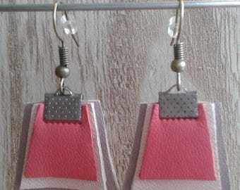 Pink, beige, gray leather earrings