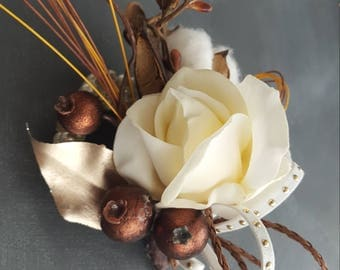 Natural and cream rose wrist corsage