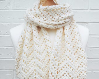 Ivory / White Scarf - Lace Crochet Knit Scarf - Off-white Cream Wedding Shawl - Chevron Lace All Seasons Long Scarf - Ladies Accessories