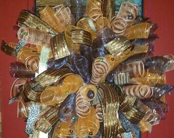 orange,brown deco mesh wreath
