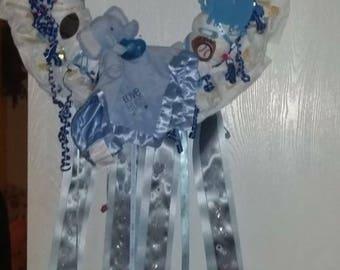 Elephant boy diaper wreath