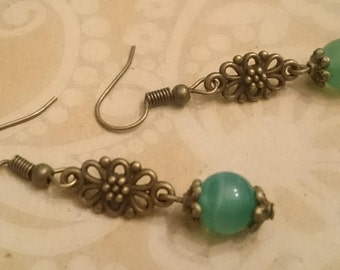 Natural stone beads and bronze earrings
