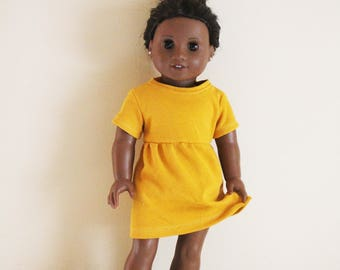 Yellow T-Shirt Dress for 18 inch dolls; fits American Girl dolls