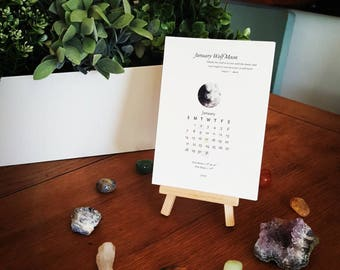 Moon Calendar 2018 / Desk Calendar 2018 / Calendar 2018 / Ritual Cards / Lunar Calendar / Moon Phases / Affirmation Cards / Intention Cards