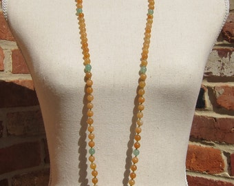 Orange Aventurine + Green Aventurine Napping Necklace - Genuine Gemstones & Pure Silk Thread