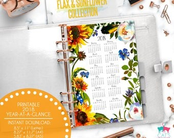 Printable Calendar A5 A4 Letter Watercolor Planners 2018 Year at a Glance | Flax and Sunflower Floral Collection | FSCYG18