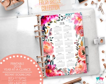 Printable Calendar A5 A4 Letter Watercolor Planners 2018 Year at a Glance | Fresh Breeze Floral Collection | FBCYG18
