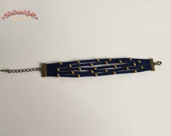 Bracelet 5 rows of Navy Blue Suede, bronze beads