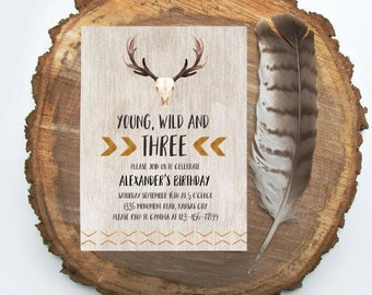 Tribal Deer Skull Birthday Invitation Boy Birthday Invite Deer Head Invite Printable Rustic
