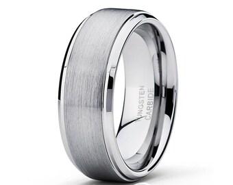 Tungsten Wedding Band Silver Tungsten Ring Men & Women Tungsten Carbide Ring Anniversary Ring Brush Tungsten Band
