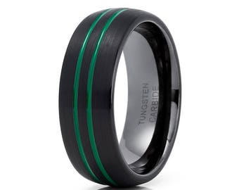 Green Tungsten Wedding Band Gunmetal Tungsten Ring Men &  Women Tungsten Carbide Ring Anniversary Ring Black Tungsten