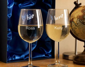 "Personalised ""His and Hers"" Wine Glass Set - Personalised Wine Glasses, Gifts for Couples, Gifts for Him and Her, Personalised Gifts"
