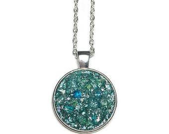 Druzy pendant necklace, aqua druzy, druzy necklace, druzy jewelry, under 20 dollars, mermaid druzy, glittery necklace, glittery pendant