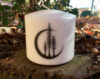 Crescent Moon Candle, Black Crescent Moon and Trees Pillar Candle, Woods, Gift for Her, Mystical Candle