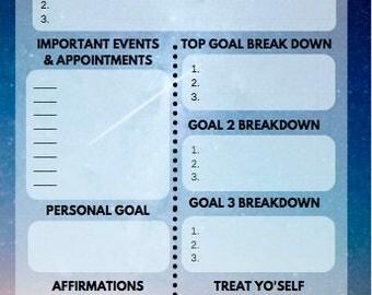 Weekly Planner Sheets - Stars - Digital Download