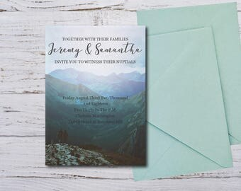 Digital Only / Wedding Invitation / RSVP / Registry / Save The Date / Rustic / Mountain wedding / Elopement