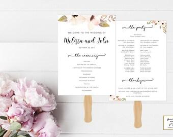 Program Fans For Wedding, Programs Templates Modern, Program Fans Template, Program Wedding Template, Instant Download, Editable, Cream