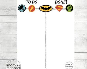 Instant Digital Download To Do and Done: Superheroes Chart for Daily Routines, Tasks and Chores