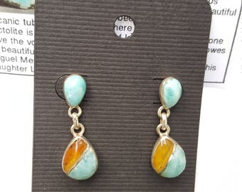Larimar earrings with Amber in 925 Sterling Silver