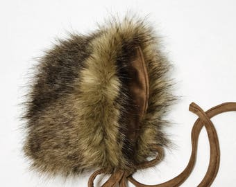 Neutral Gender Brown Fur Reversible Bonnet