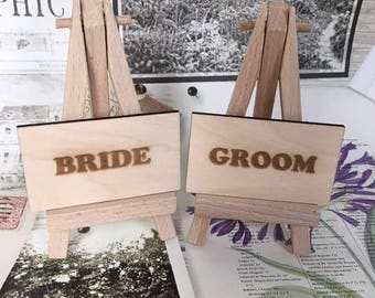 Wedding name place settings, Wedding Favours, wooden engraved place settings