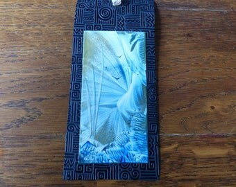 Bookmark varnished original Encaustic Painting. Blue and Gold World