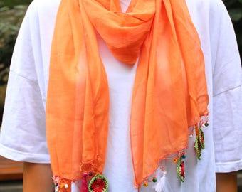 Tradional Handmade Turkish Neck Scarf ,Yemeni - Shawl with Oya Crochet - Fashion Bohemian Boho Scarf, Needle lace shawl,Beaded Wrap Scarf