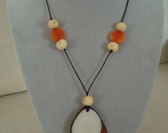 Original orange and beige seed necklace