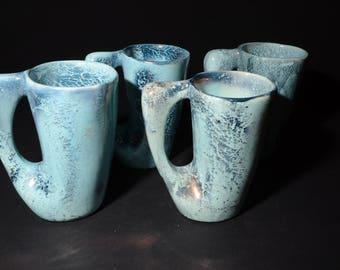 Vintage, Laurentian Pottery, Set of 4, Atomic Blue Metallic Beer Mugs Canada 514, Made in Quebec, Pottery Laurentian, Canada Collection