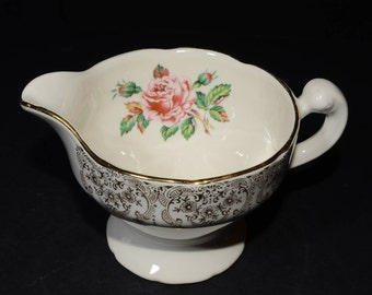 Mid-century (c.1950s), DOMINION CHINA, BRIARD rose, creamer, vintage, U.S.A., Pink roses, 22k gold floral chintz