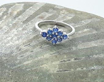 Sterling Silver Sapphire  Ring Rhodium Plated-September Birthstone-Unique Vintage Ring-Romantic Gift-Birthday Present