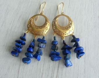 Lapis Lazuli,Chandelier Earrings,Bohemian jewellery,jewelry,Boho,Hippy,Gypsy Earrings,Gemstone,Blue,Gold,Filigree,Handmade