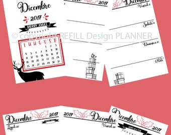 Digital Planner, A5 Planner, Planner Inserts, Refill Agenda, Planner Refill, A5 Refill, Weekly, Settimanale, Dicembre 2017, Christmas Natale