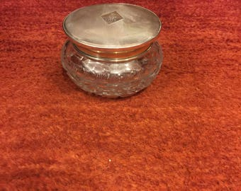 Barker Bros Sterling + glass powder jar with silver monogrammed top and cut glass bottom circa 1930's