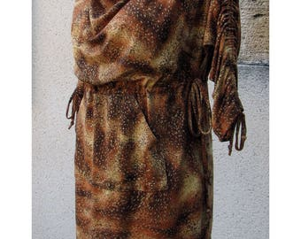 Dress, tunic, Jersey, glitter, and Brown mottled effect.