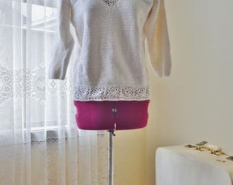 Vintage 70's white cotton crochet knit top