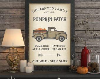 Personalized Pumpkin Patch Printable DIY Art, Custom Name
